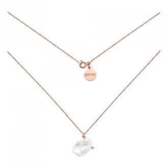 Naszyjnik z różowego złota z nieregularną perłą