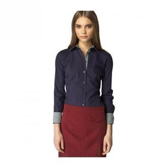 Nife koszula ze kratką na mankiecie Bluzki i koszule Niebieski Dorośli
