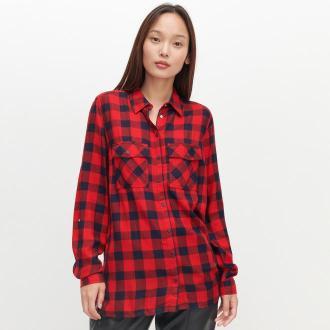 Reserved - Luźna koszula w kratę - Granatowy