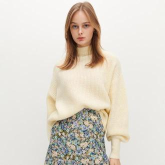 Reserved - Sweter o luźnym splocie - Żółty