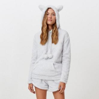 Cropp - Dwuczęściowa piżama z bluzą - Jasny szary