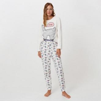 Cropp - Dwuczęściowa piżama z nadrukiem - Kremowy