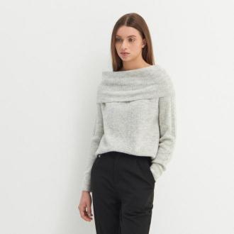 House - Sweter z wywijanym dekoltem - Jasny szary