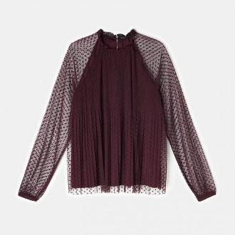 Mohito - Plisowana bluzka ze stójką - Fioletowy