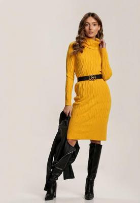 Żółta Sukienka Dzianinowa Blackbloom