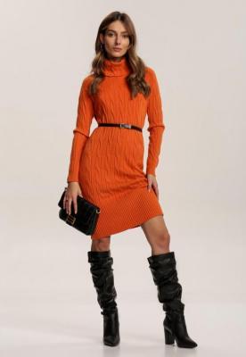 Pomarańczowa Sukienka Dzianinowa Blackbloom