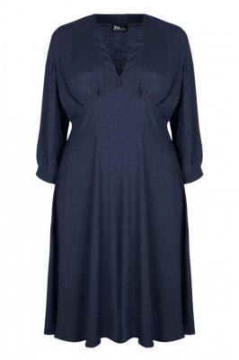 VANDA NAVY sukienka plus size w groszki : size - 60/62