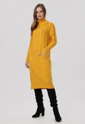Żółta Sukienka Dzianinowa Elinynore