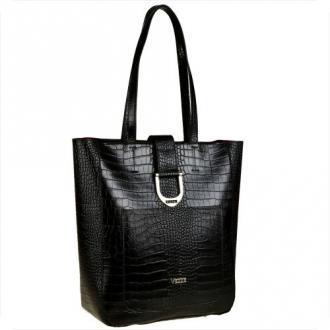 Torebka  vezze shopper czarna z kosmetyczką wzór wężowej skóry