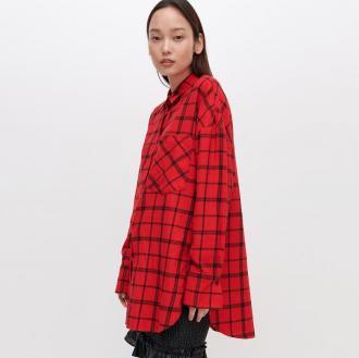 Reserved - Koszula oversize w kratę - Czerwony