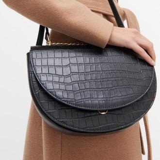 Reserved - Fakturowana torebka z łańcuszkiem - Czarny