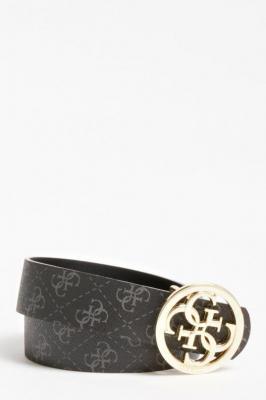 Guess czarny dwustronny pasek Jensen 4 Logo Reversible Belt - L