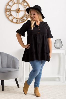 Tunika - sukienka swobodna z falbanek LORENA czarna PROMOCJA