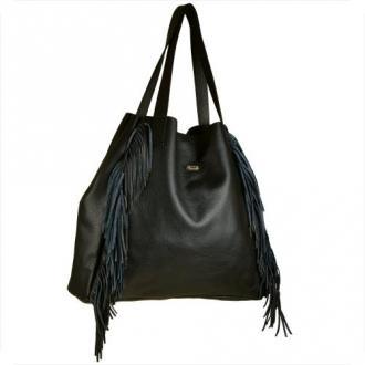 Vezze bardzo duża torebka damska czarna z frędzlami skóra naturalna