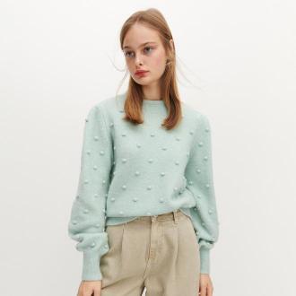 Reserved - Sweter z dekoracyjnymi kulkami - Zielony
