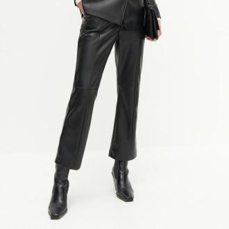 Reserved - Spodnie ze sztucznej skóry - Czarny