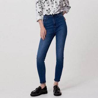 Cropp - Jeansy high waist - Niebieski