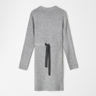 Mohito - Swetrowa sukienka z wiązaniem w talii - Jasny szary