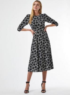 Czarna wzorzysta sukienka midi Dorothy Perkins - XS