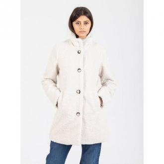 Stimm Tempira cream curly faux fur coat Płaszcze Biały Dorośli Kobiety