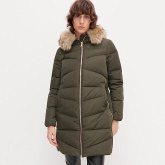 Reserved - Puchowy płaszcz ze sztucznym futrem - Khaki
