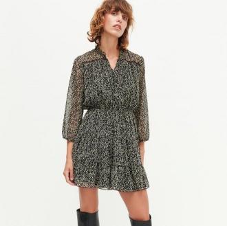 Reserved - Szyfonowa sukienka mini - Wielobarwny