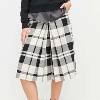 Reserved - PREMIUM Szerokie spodnie w kratę - Wielobarwny