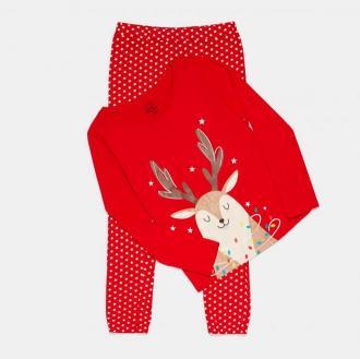 Sinsay - Piżama dwuczęściowa ze świątecznym nadrukiem - Czerwony