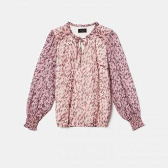 Mohito - Szyfonowa bluzka z wiązaniem przy dekolcie - Różowy