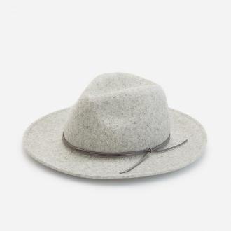 Reserved - Wełniany kapelusz z rzemykiem - Jasny szary