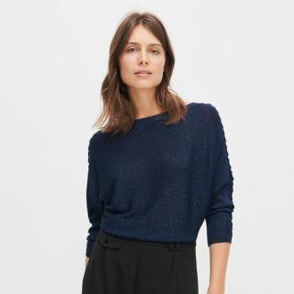 Reserved - Sweter z błyszczącą nitką - Granatowy