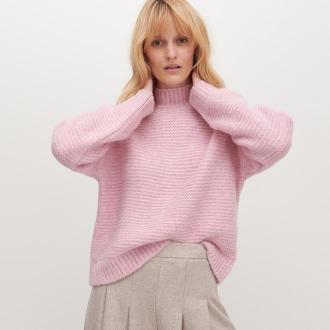 Reserved - Sweter ze stójką - Różowy