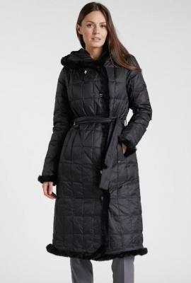 Pikowany długi płaszcz