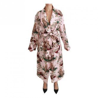 Cat Print Robe Nightgown Dress