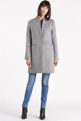 Wełniany płaszcz ze stójką
