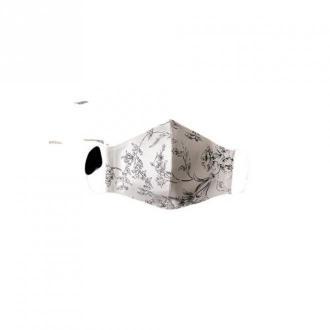 Echo Maska ochronna - profilowana damska biała w kwiaty z kieszonką