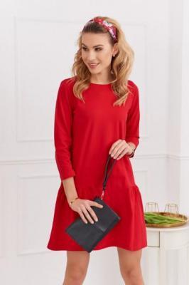 Luźna sukienka z rękawem 3/4 na co dzień czerwona FK503