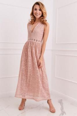 Elegancka sukienka koronkowa brudny róż 8327