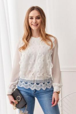 Elegancka bluzka z koronkowym przodem kremowa 8374