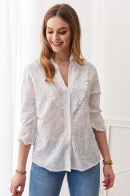 Koszula w haftowane wzory biała 7330