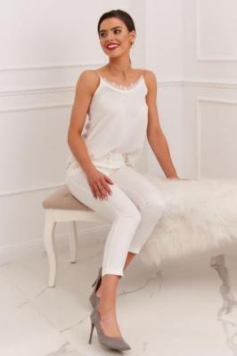 Eleganckie spodnie damskie cygaretki kremowe 27864