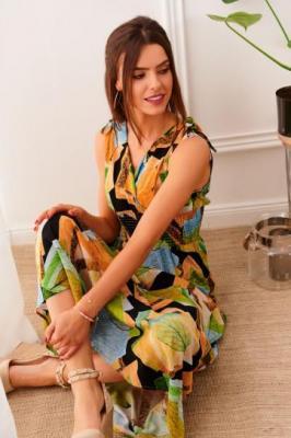 Letnia sukienka maxi w kolorowe wzory pomarańczowa 85334