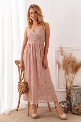 Koronkowa sukienka na cienkich ramiączkach brudny róż 8054