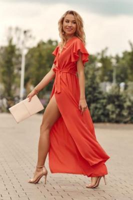 Kopertowa sukienka maxi koralowa 6810