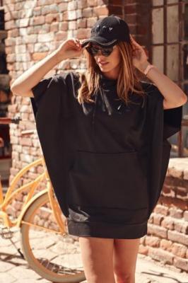 Sportowa sukienka/tunika nietoperz z kapturem czarna FI518