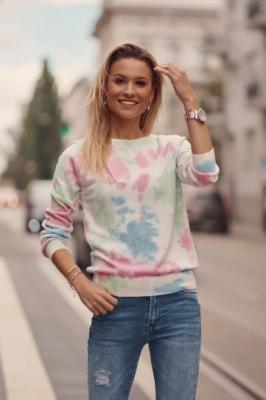 Cienki sweter damski tie dye różowy 321910