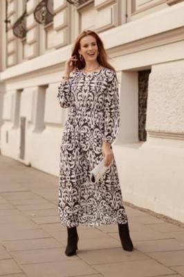 Długa szyfonowa sukienka kremowa 0083
