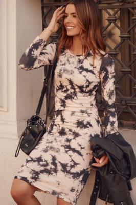 Dopasowana sukienka midi Tie-Dye cappuccino FK551
