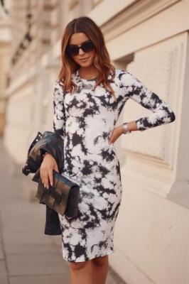 Dopasowana sukienka midi Tie-Dye biała FK551