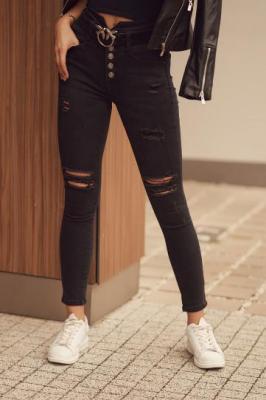 Spodnie jeansowe z wysokim stanem i dziurami czarne 2605